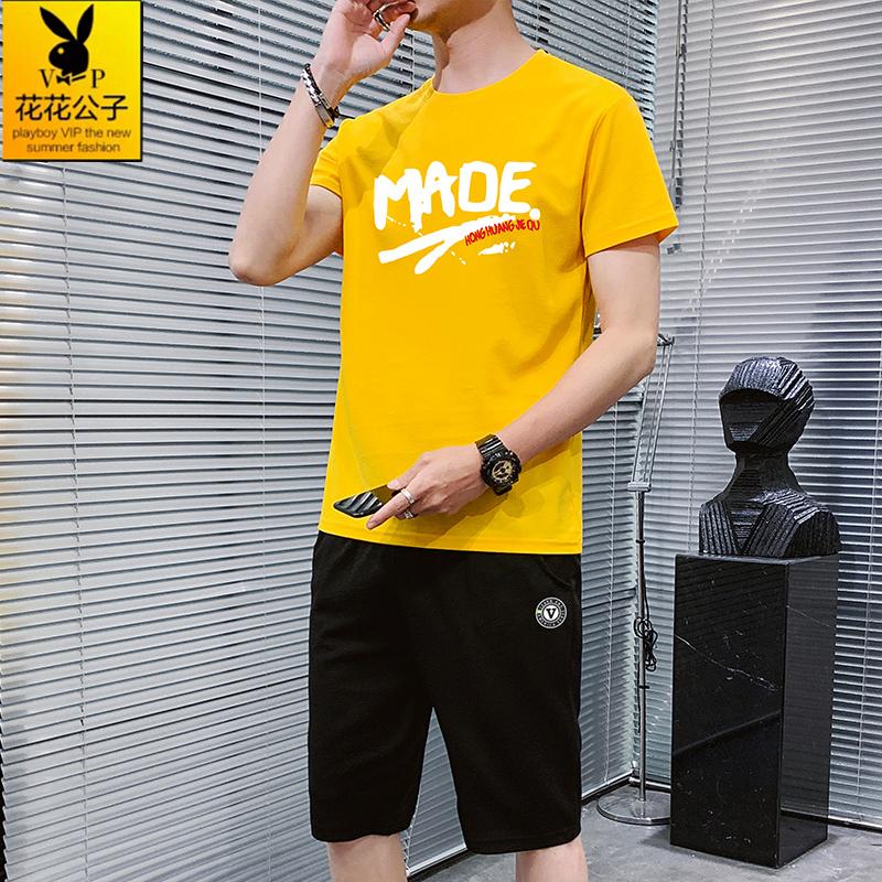 花花公子贵宾2020夏季韩版男士休闲运动套装青少年百搭短袖t恤男
