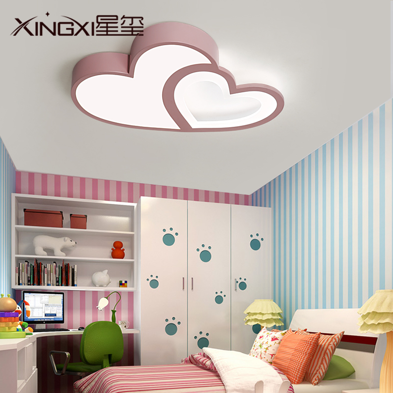 创意温馨LED心形吸顶灯公主儿童房具女孩简约现代粉色房间卧室灯