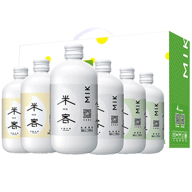 米客米酒低度糯米酒 6度甜酒酿 网红酒 三口味送礼礼盒350ml*6