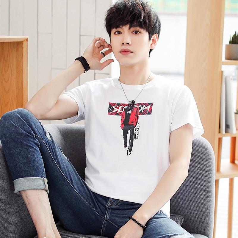 GXG Jmoon男装2019夏季新款情侣白色体恤短袖男纯棉印花短袖T恤男