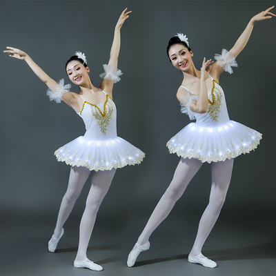 Poly luminescent ballet dresses, adult women's performance suits, children's fluorescent Penghao skirts, LED embroidered dance costumes.