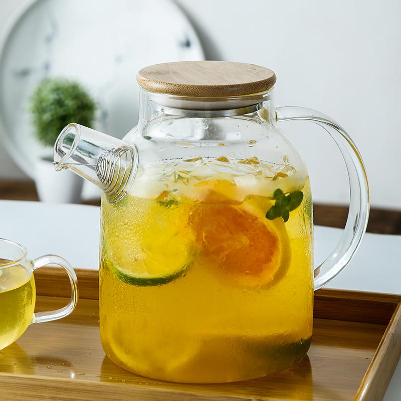 日式冷水壶可加热泡花茶玻璃凉白开水杯耐高温家用套装果茶凉水壶