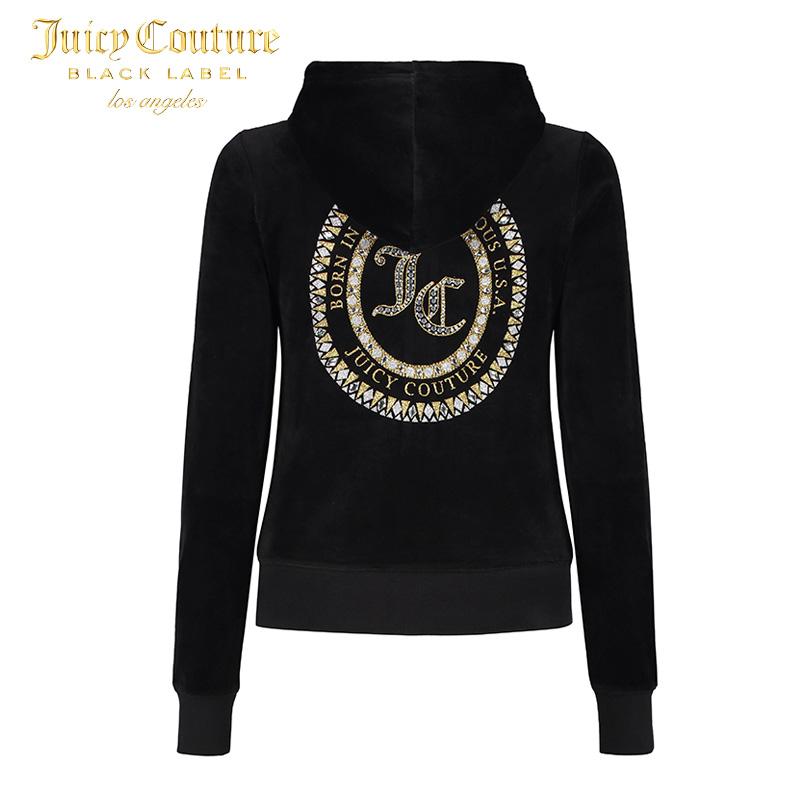 Juicy Couture2018新款经典休闲运动字母修身天鹅绒长袖卫衣外套
