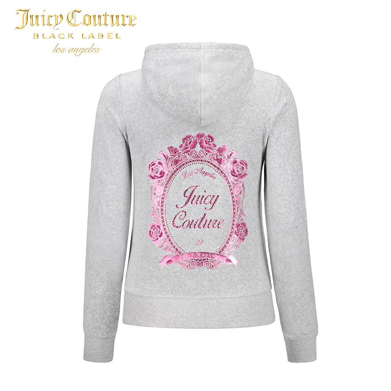 Juicy Couture2018新款精美印花图案修身舒适天鹅绒卫衣夹克外套