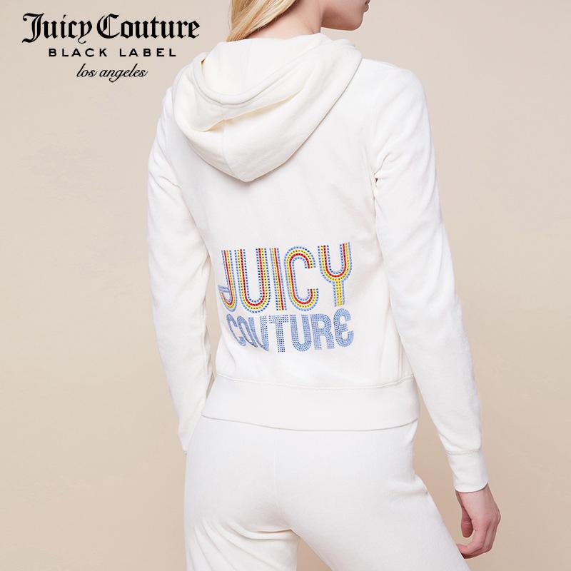 Juicy Couture2018新款彩色钉珠字母图案天鹅绒修身连帽卫衣夹克