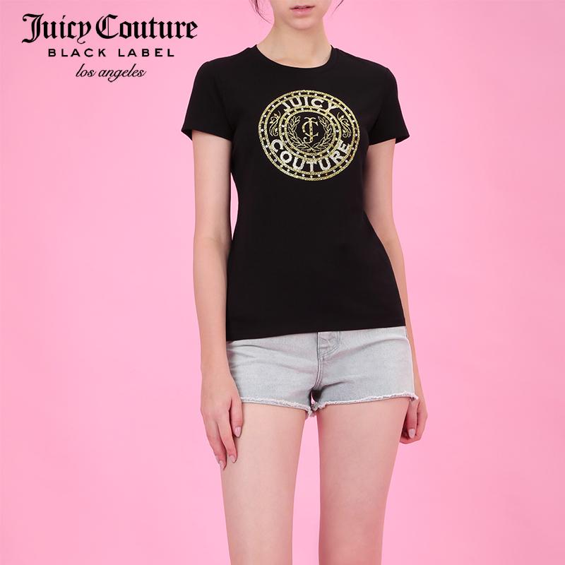 Juicy Couture2018新款经典闪亮JC钉珠字母图案圆领短袖T恤