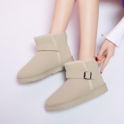 时尚简约雪地靴2017冬季新款女士靴加绒加厚保暖女款靴子女毛毛鞋
