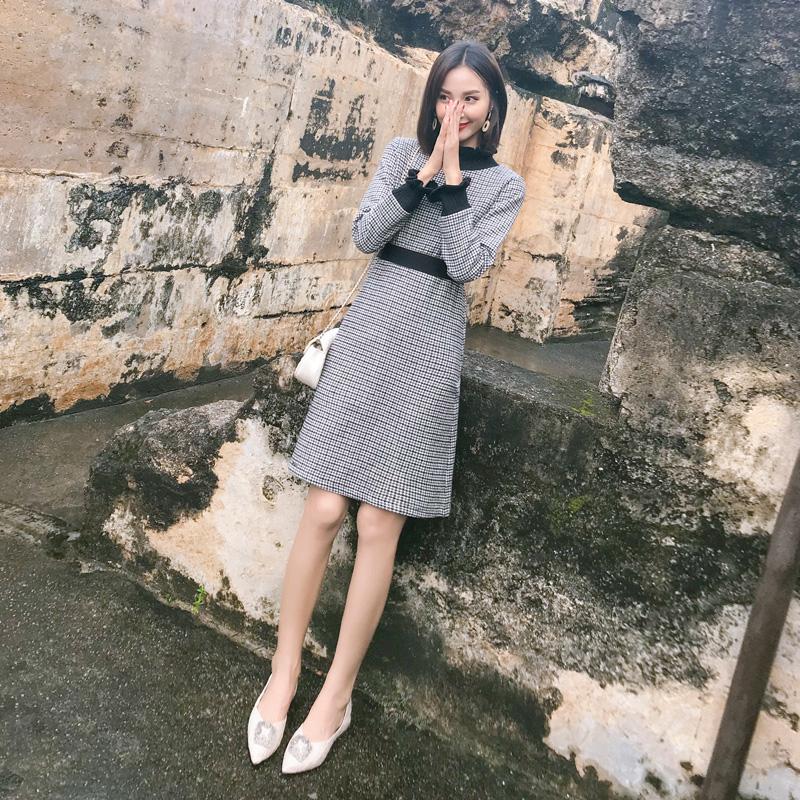 秋装女2018新款连衣裙中长款修身毛呢格子名媛小香风A字裙显瘦冬