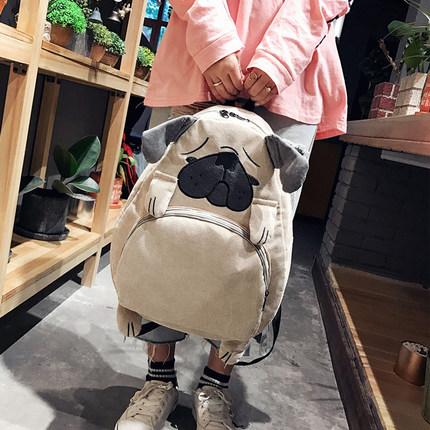 书包女学生韩版校园原宿ulzzang潮背包灯芯绒萌系卡通可爱双肩包