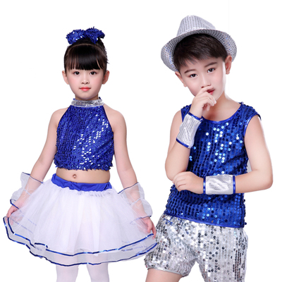 Children's Jazz Dance Costume Girls sequins Children's modern Princess Pengpeng Dress Costume
