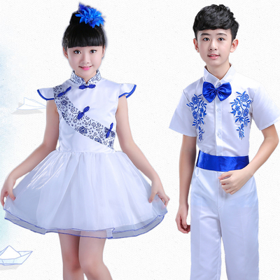 Children's Blue and White Porcelain Performing Dresses for boys and girls Chorus Dresses, Pengpeng Skirt and Skirt for Primary and Secondary School Students