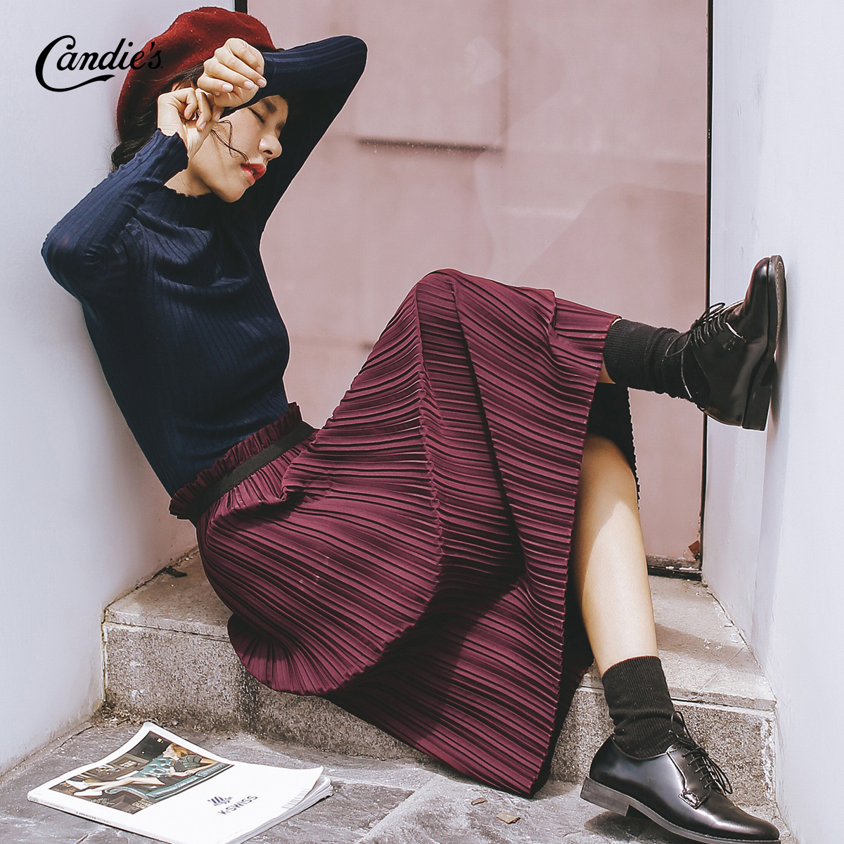 高腰百褶半身裙女2017秋冬季新款时尚百搭风琴褶中长款复古酒红色
