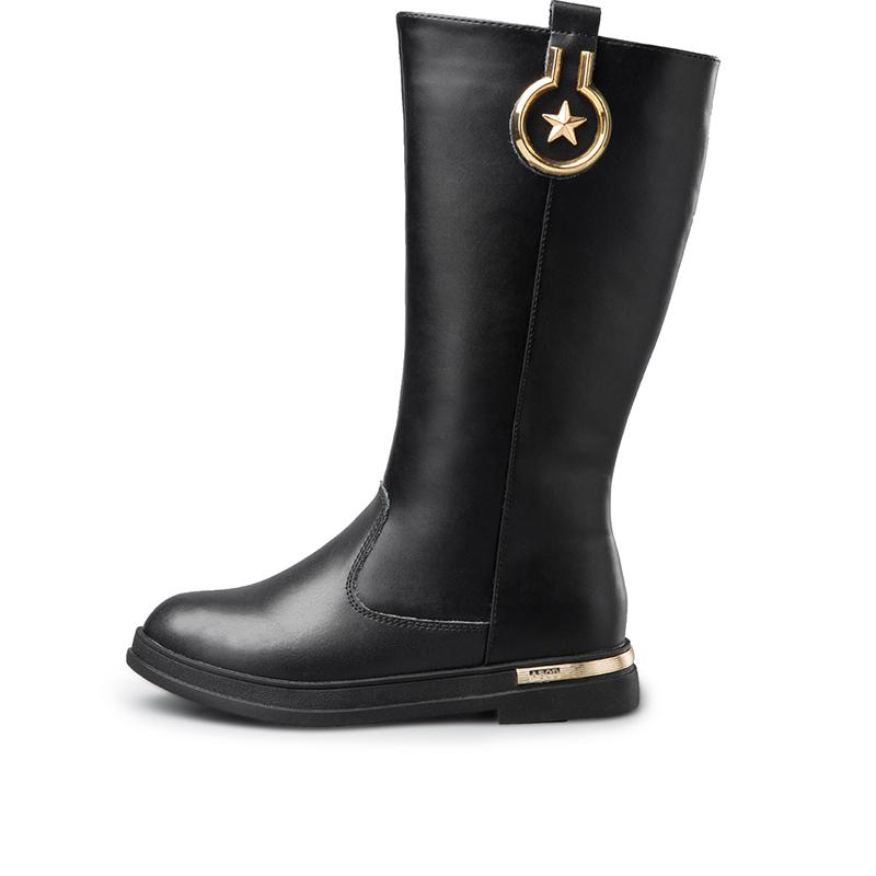 意尔康童鞋2016秋冬季短毛绒女童皮靴儿童休闲防滑中高长筒靴子产品展示图3