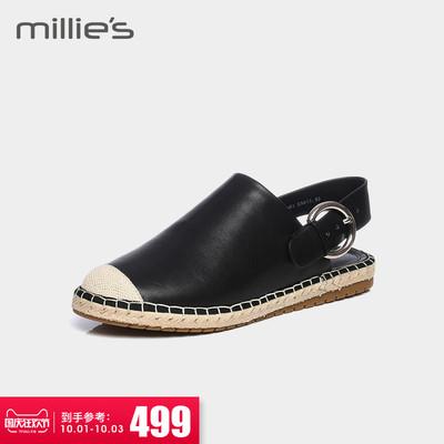 millie's-妙丽2018专柜同款牛皮休闲后空渔夫女凉鞋25881AH8