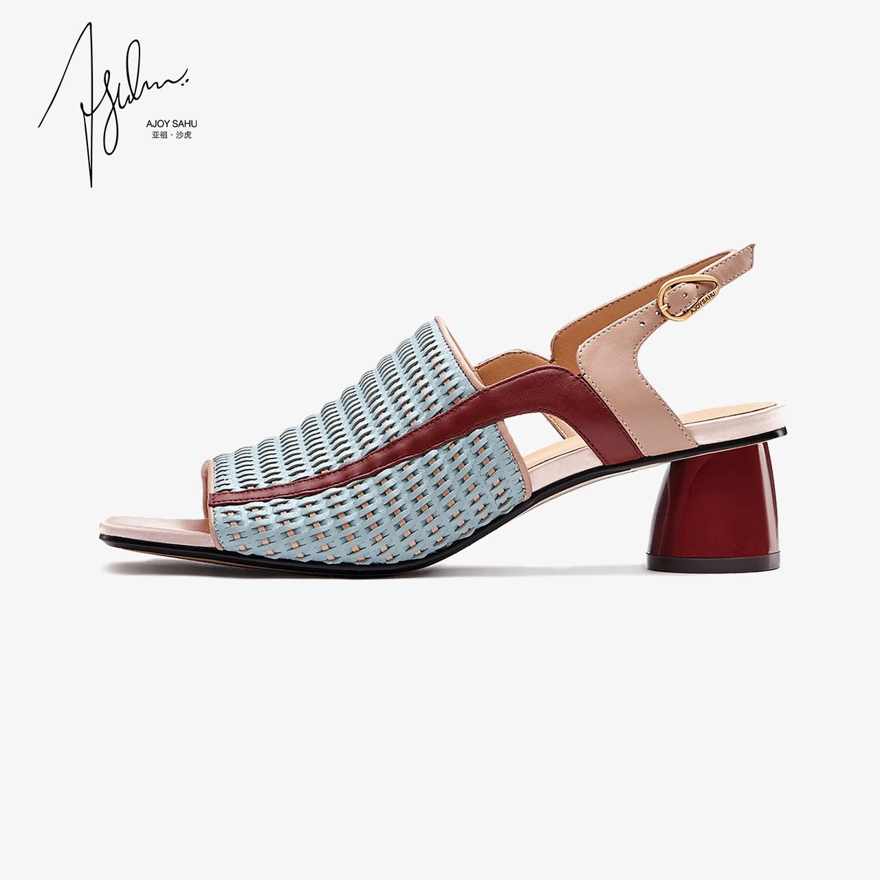 AJOY SAHU2018新款镂空女鞋复古编织凉鞋女高跟粗跟露趾凉鞋女鞋