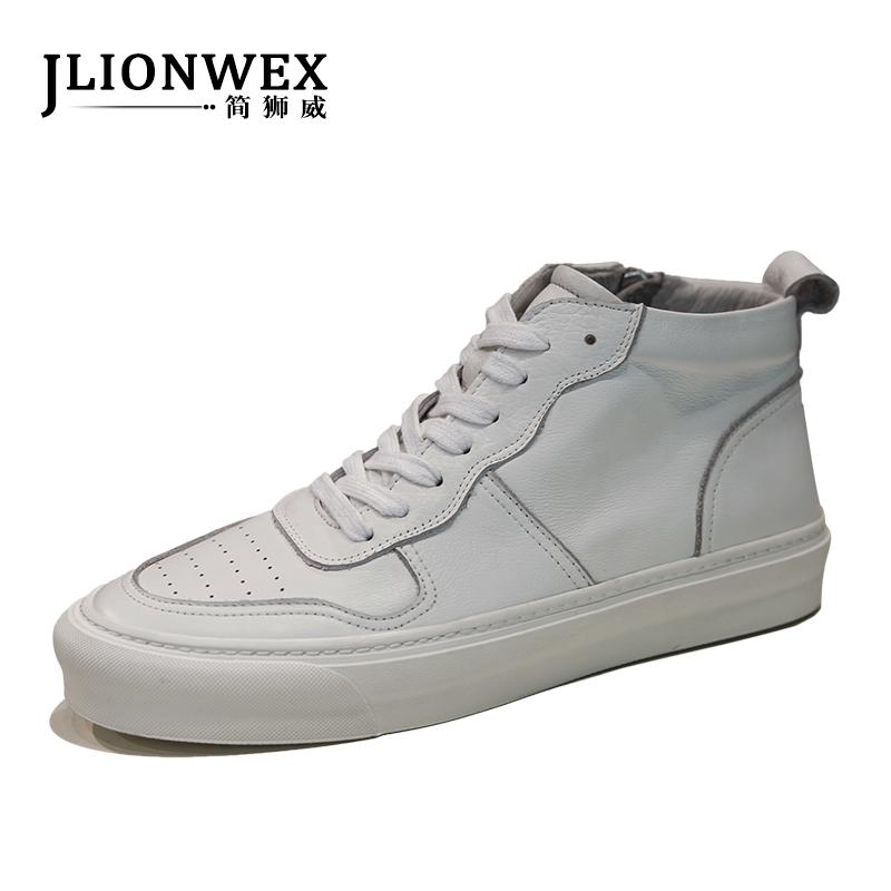 高帮鞋男韩版潮流百搭2018秋季新款白色高帮板鞋男真皮运动休闲鞋