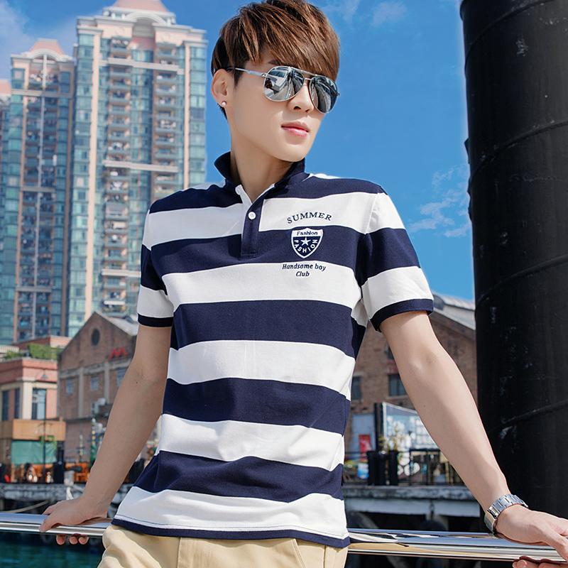 CreamSoda 【2件】2017夏季男士短袖T恤 衬衫v领半袖翻领polo衫衣服潮男装