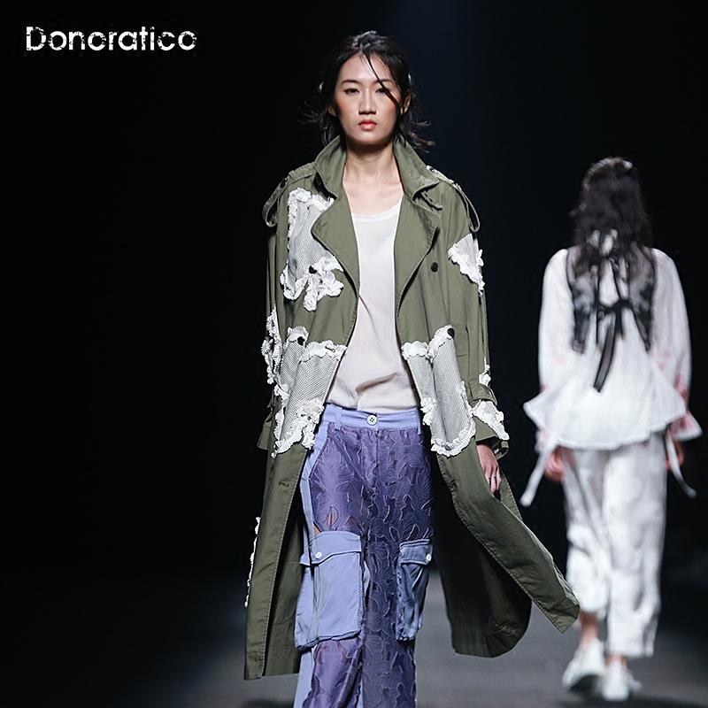 达衣岩2018秋季新款复古个性优雅长袖风衣女中长款双层领开衫外套