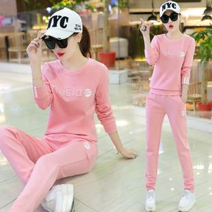 运动套装女秋季2018新款潮韩版长袖跑步服时尚显瘦休闲两件套15
