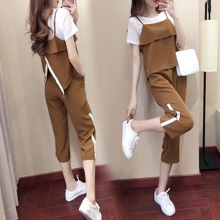 64小香风时尚套装休闲阔韩版休闲显瘦三件套女装夏季