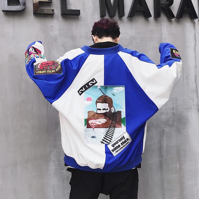 秋季外套男韩版潮流嘻哈宽松hiphop港风bf网红韩风chic上衣夹克潮