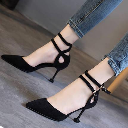 鞋子女学生韩版高跟鞋女细跟2019秋夏黑色百搭尖头一字扣单鞋女鞋