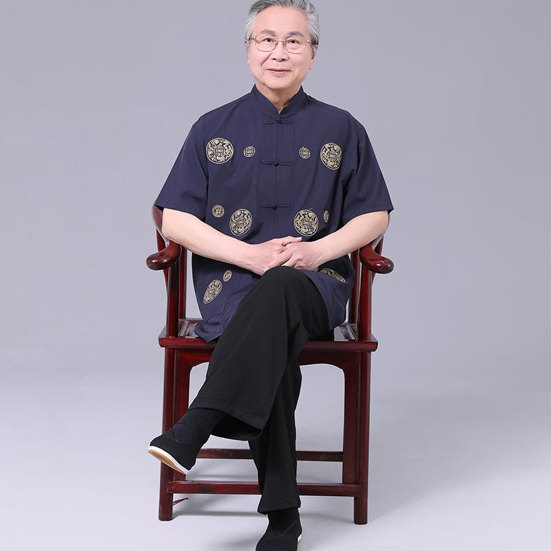 中国风夏季中老年汉服唐装男短袖套装爷爷夏装老人衣服爸爸中山装