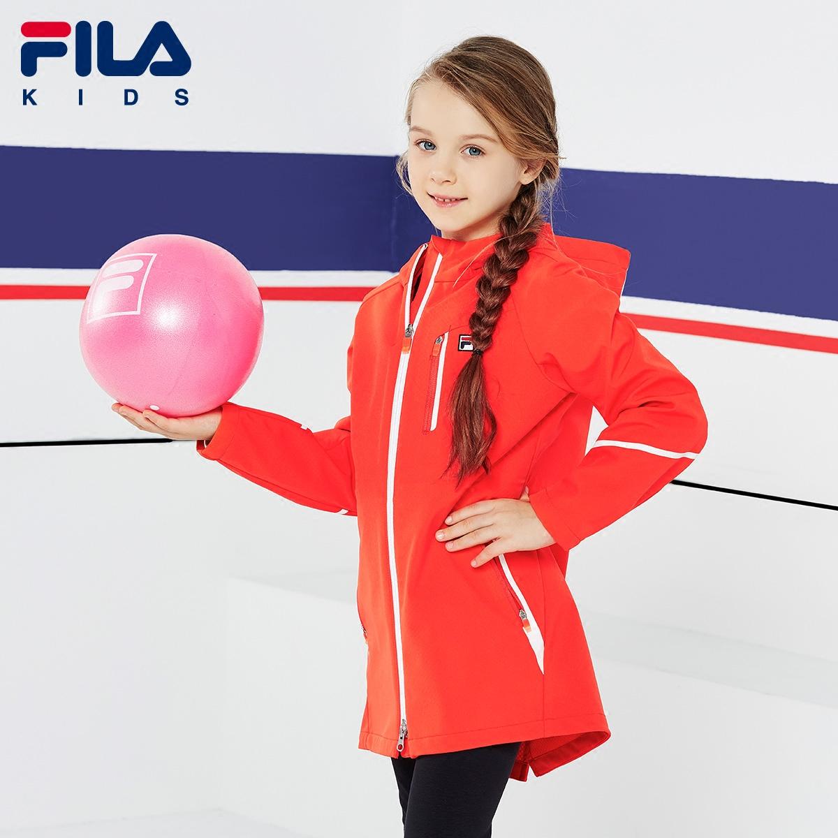 FILA斐乐童装女童外套防风保暖连帽拉链梭织夹克上衣2018秋冬新款