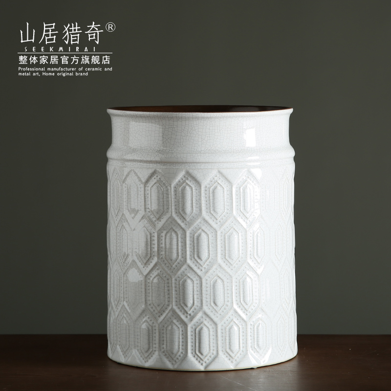 I and contracted white ceramic flower arranging flower implement soft furnishing articles sitting room adornment fashion lines series cylinder vase