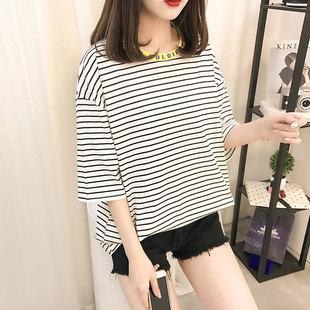 100%纯棉条纹短袖t恤女装2019夏季
