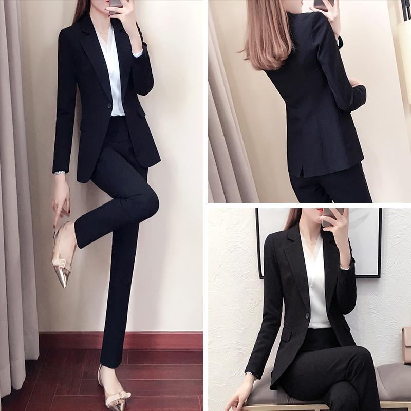 春秋装时尚职业西装套装女2018新款女装韩版名媛气质显瘦正装西服