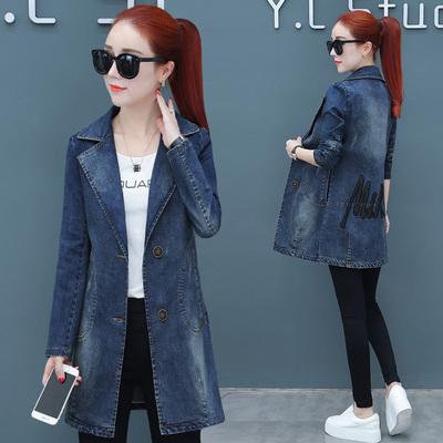 2018秋季新款韩版女装修身显瘦收腰牛仔外衣服秋装中长款长袖外套