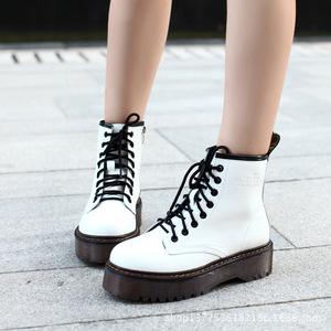 3 高端高档漆皮秋季厚底靴松糕女靴马丁靴女新款朋克短靴子