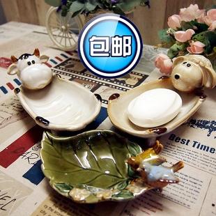 欧式复古卫浴用品创意小动物浴缸陶瓷肥皂盒香皂盘碟室内艺术摆件