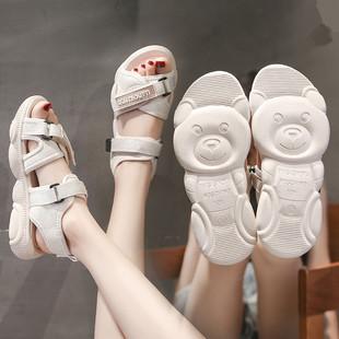 2020夏季新款韩版百搭时尚网红厚底休闲松糕平底沙滩鞋运动凉鞋女