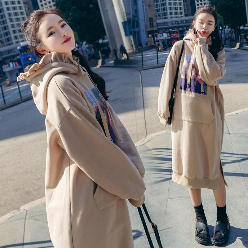 2018春秋冬季新款韩版宽松连帽卫衣外套女中长款时尚卫衣连衣裙潮