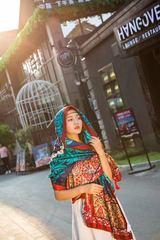 小溜家夏尼泊尔撞色图腾民族风棉麻披肩女旅游度假丝巾沙滩