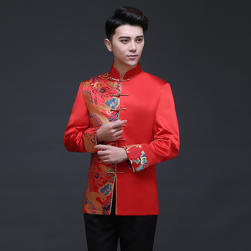 秀禾服新郎中式结婚礼服夏古装秀和服红色男装刺绣中国风马褂唐装