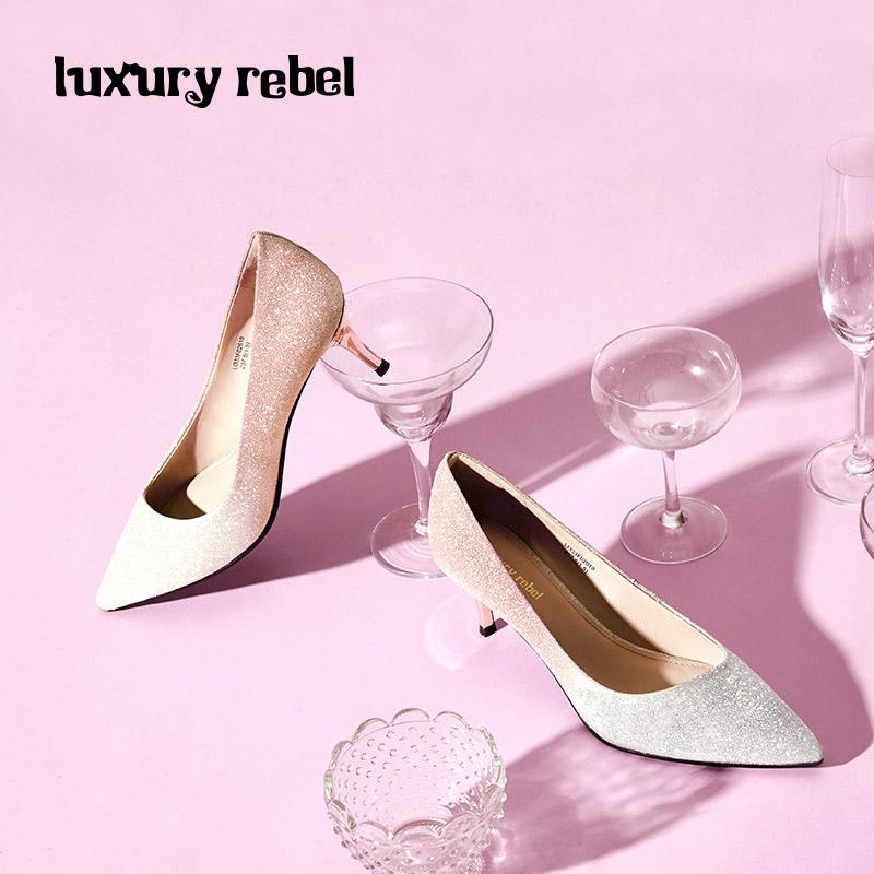 LR女鞋Luxury Rebel 2018秋季新款细纹渐变格利特单鞋细跟女鞋