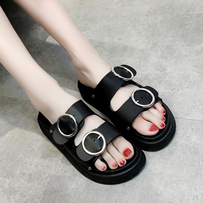 1原宿港风凉拖鞋女2018夏季新款厚底外穿一字拖学生百搭女鞋子