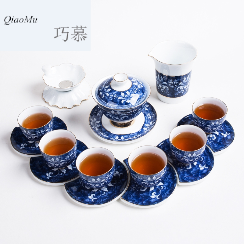 Longed for home opportunely kung fu tea set of blue and white porcelain of a complete set of creative Japanese ceramics high antique teacup tureen group