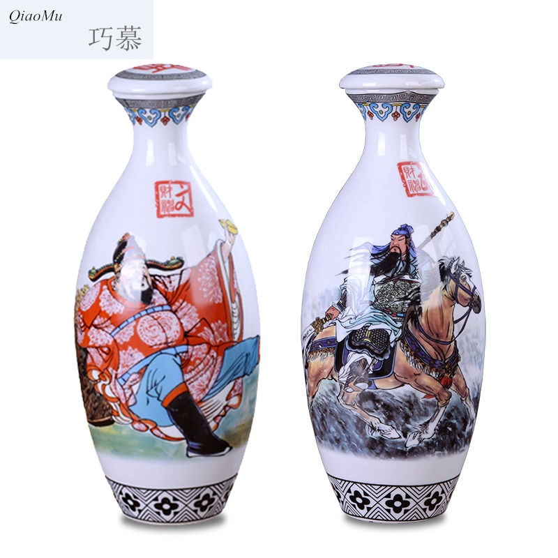 Longed for the god of wealth of cultural relics ceramic bottle three catties home opportunely with cover classical small collection bottle wine jar