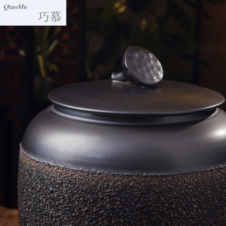 Qiao mu jingdezhen temperature variable glaze ceramic with cover the barrel storage box 40 kg oil cylinder tank to tank jars of pickles
