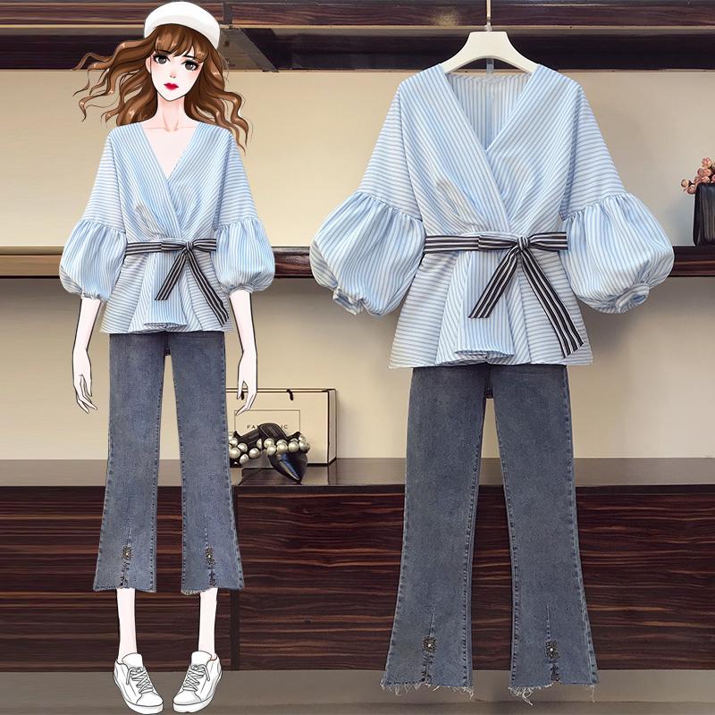 大码女装2020秋冬胖mm牛仔裤两件套装微胖妹妹遮肉心机套-牛牛大码-