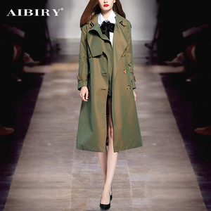2018秋冬新款女装军绿色中长款避雪风衣时尚收腰英伦风大衣外套女