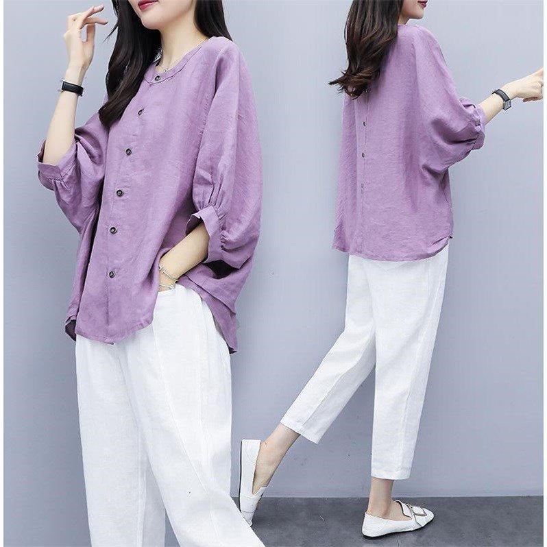 2020新款女装夏两件套裤棉麻蝙蝠袖上衣九分萝卜裤休闲时尚套装女