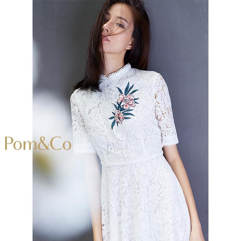 石榴集白色刺绣绣花连衣裙2018新品圆领蕾丝钩花中袖显瘦中长裙