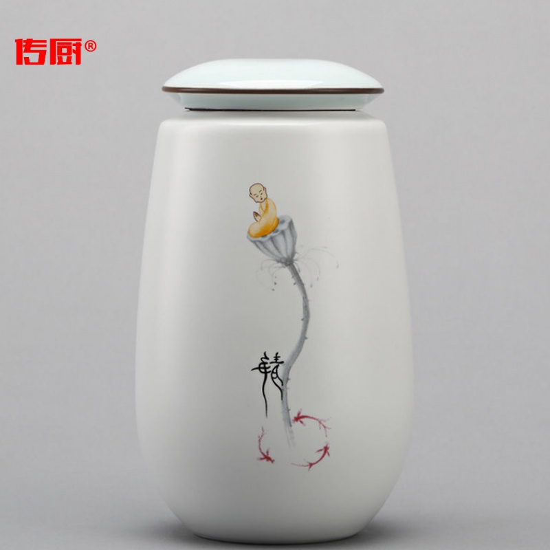 The kitchen hand - made ceramic small caddy fixings sealed tank storage tank tea packing box ceramic tea pot