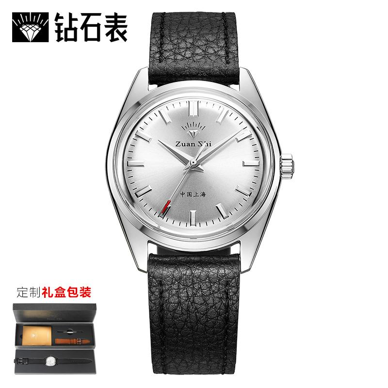 老上海钻石牌手表指针式152复刻限量手动机械表 复古真皮皮带男