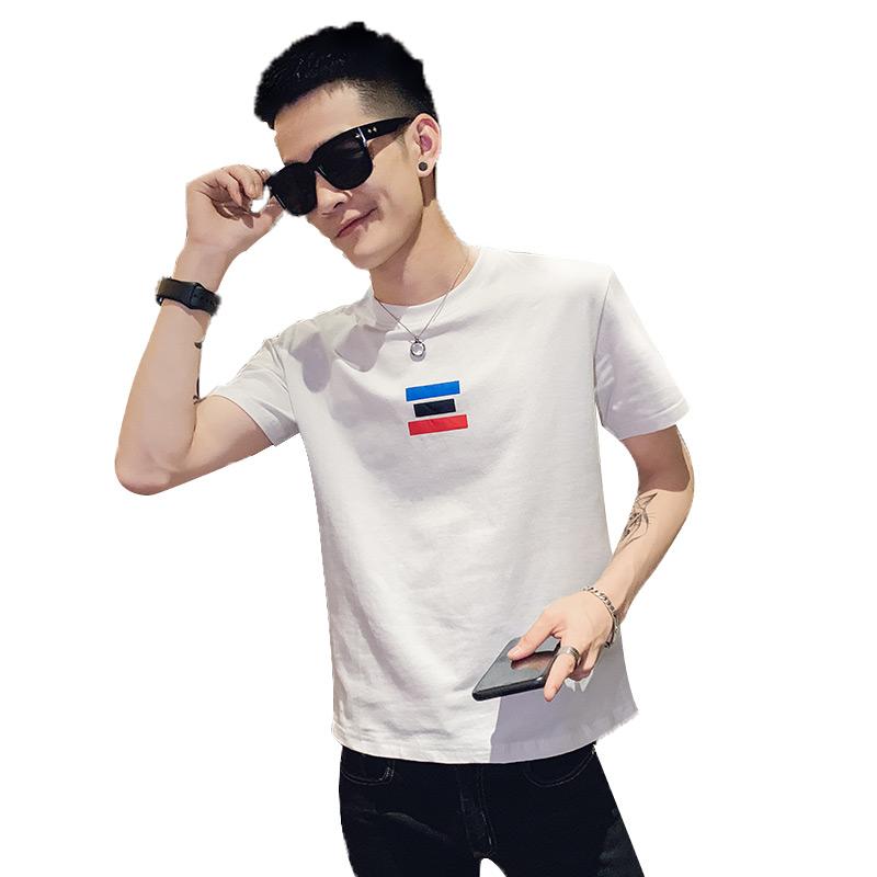 短袖男潮牌潮流韩版简约纯棉半袖T恤男士网红精神小伙圆领体恤衫